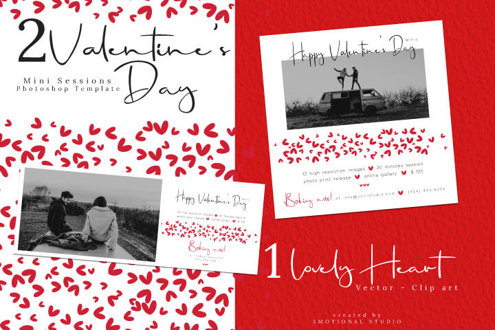 Valentine's Day Mini Session Template, Valentine Photography Template for Photographers, eps heart illustration