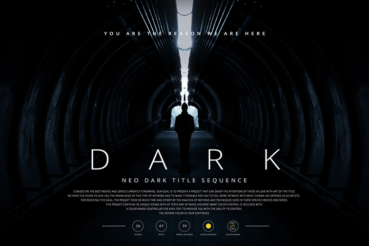 Neo Dark Title Sequence After Effects Motion Template
