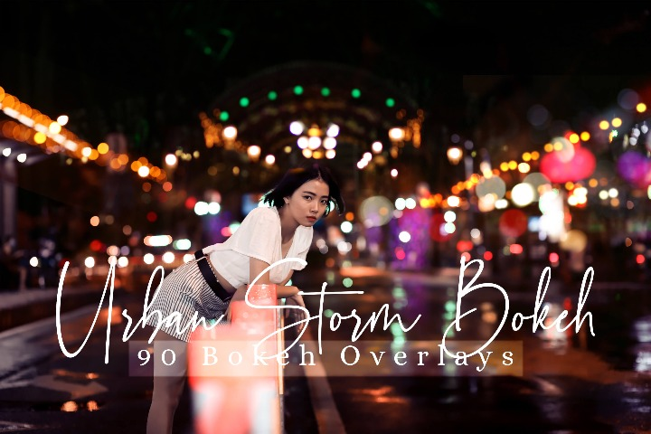 Urban Storm Bokeh Overlays lights Effect Photo Overlay, Lifestyle Overlay Sparkles effects digital backdrop, Professional bokeh overlay