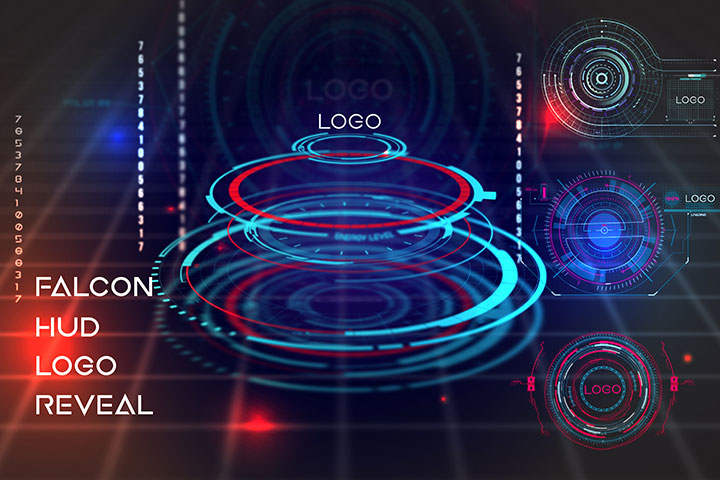 Neo Falcon HUD Logo Pack motion graphic adobe after effects template head-up display
