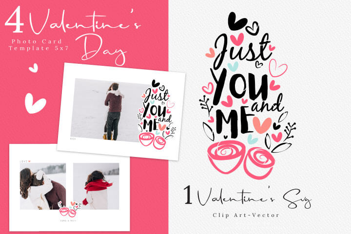 Valentine's Day Photo Card Template, Love calligraphy Valentine SVG Digital Cut Files Svg Eps Png