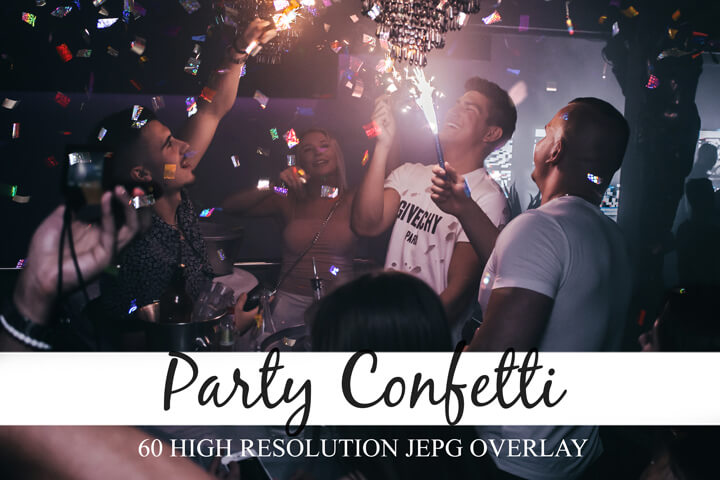 60 Party Confetti Overlays, realistic falling, jpg, photography effect , photoshop overlay, Falling Confetti, colorful photo effect, Glowing