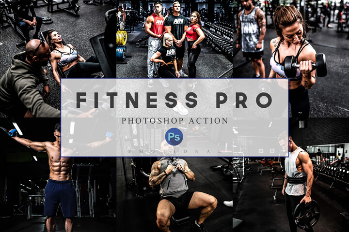 12 Photoshop Actions, ACR, LUT Presets Fitness Pro, Workout theme, Gym Sports Lifestyle, Instagram Blogger filter, bodybuilding photography