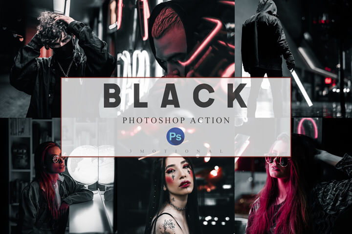 6 Photoshop Actions, ACR and LUT Preset Black Luxury Theme, Lifestyle Preset for Blogger, Instagram Picture Filter, Influencer Photographer