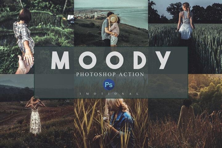 14 Moody Photoshop Actions, ACR and LUT Presets Instagram Blogger Photo Filter, Outdoor, Indoor, Forest, travel photograph influencer preset