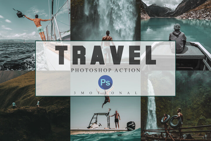 6 Travel Photoshop Actions, ACR and LUT Presets, Lifestyle fashion travel Instagram influencer Photography filter, blogger style, bright