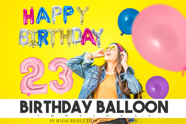 50 Birthday Balloon Overlays, colorful letter and number foil balloon, png photoshop overlay, photo effect, Happy Birthday, digital backdrop
