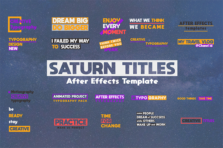 The Saturn Titles Pack is a Special After Effects template