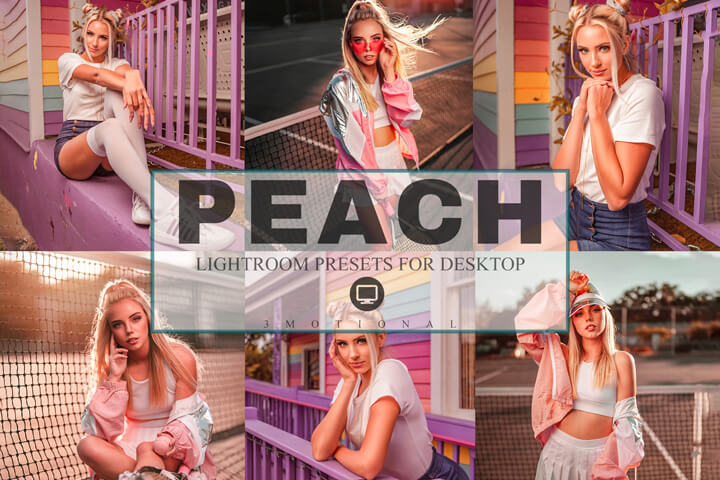 6 Peach Lightroom Presets, pink vintage fashion Blogger, soft orange tone influencer Instagram Filters Beach Lifestyle minimal look natural