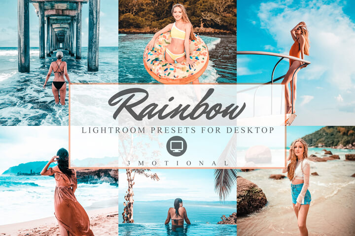 Rainbow Lightroom Presets, fashion blogger travel Instagram influencer Colorful filter, warm Summer day color pop preset Photography