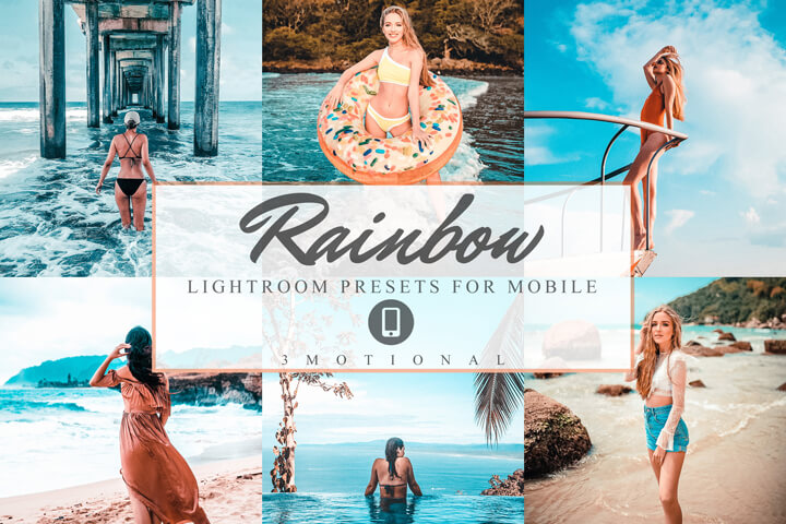Rainbow Mobile Lightroom Presets, fashion blogger travel Instagram influencer Colorful filter, Summer day color pop preset Photography