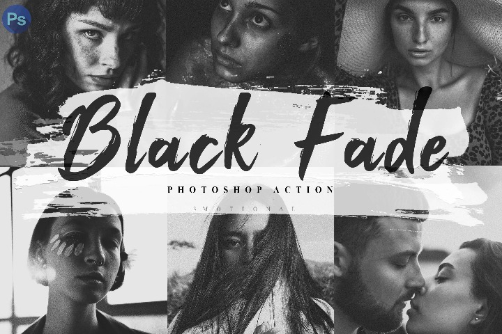 6 Photoshop Actions, ACR and LUT Preset Black Fade Theme, Lifestyle Preset for Blogger, Instagram Picture Filter, Influencer Photographer