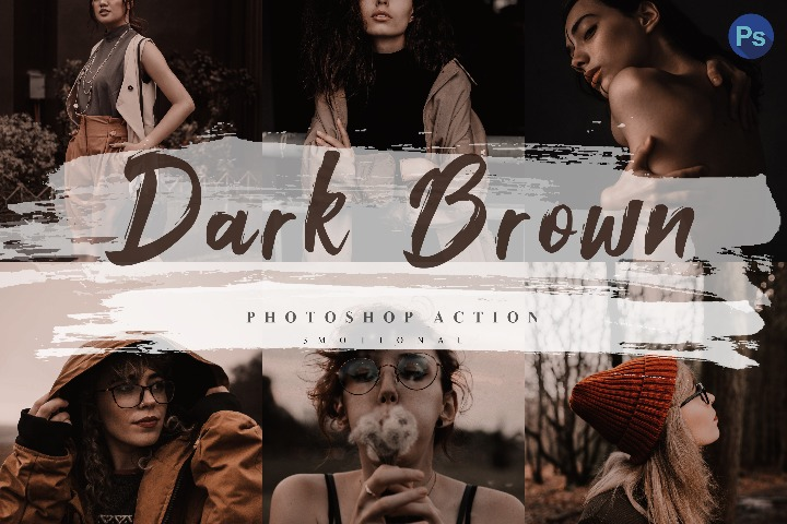 5 Dark Brown Photoshop Actions, ACR and LUT Presets Instagram Blogger Photo Filter, Outdoor, Indoor, Forest, travel photograph influencer presets