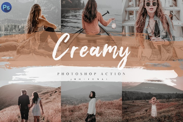 5 Creamy Photoshop Actions, ACR and LUT Presets Instagram Blogger Photo Filter, Outdoor, Indoor, Forest, travel photograph influencer preset