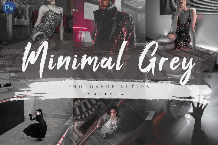 7 Minimal Grey Photoshop Actions, ACR and LUT Presets Instagram Blogger Photo Filter, Outdoor, Indoor, Forest, travel photograph influencer preset