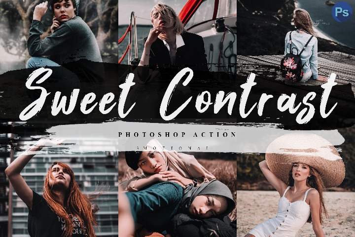 5 Sweet Contrast Photoshop Actions, ACR and LUT Presets Instagram Blogger Photo Filter, Outdoor, Indoor, Forest, travel photograph influencer preset