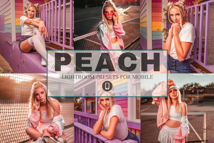 6 Peach Mobile Lightroom Presets, pink vintage fashion Blogger, orange tone influencer Instagram Filters Beach Lifestyle minimal natural