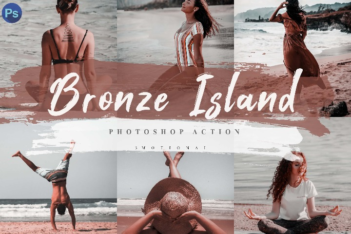 5 Bronze Island Photoshop Actions, ACR and LUT Presets Instagram Blogger Photo Filter, Outdoor, Indoor, Beach, travel photograph influencer preset