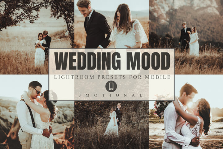 8 Wedding Mood Mobile Lightroom presets, Bridegroom vintage photography, Moody Outdoor Portrait Photo filter Preset, warm Instagram effect
