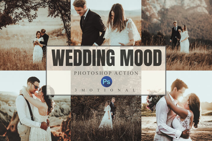 8 Wedding Mood Photoshop Actions, ACR, LUT Presets Bridegroom vintage photography, Moody Outdoor Portrait warm Photo filter Preset, marriage