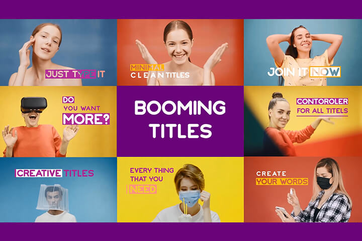 Booming titles after effects template