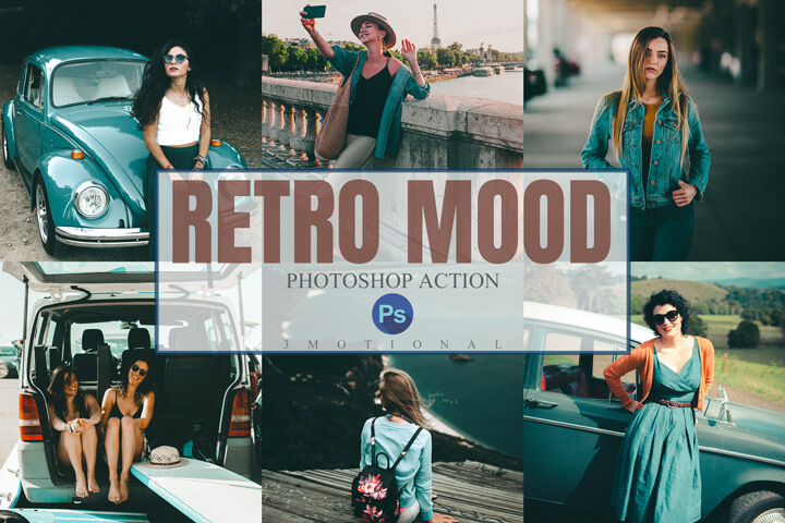 11 Retro Mood Photoshop Actions, ACR, LUT Presets, analog film moody vintage, nostalgic polaroid kodak cinematic style, Photographer Tools