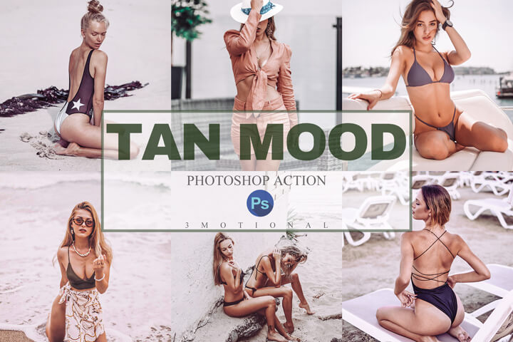 9 Tan Mood Photoshop Actions, ACR, LUT Presets, Instagram fashion Blogger Skin Tone, summer beach bronzed filter, vintage outdoor lifestyle