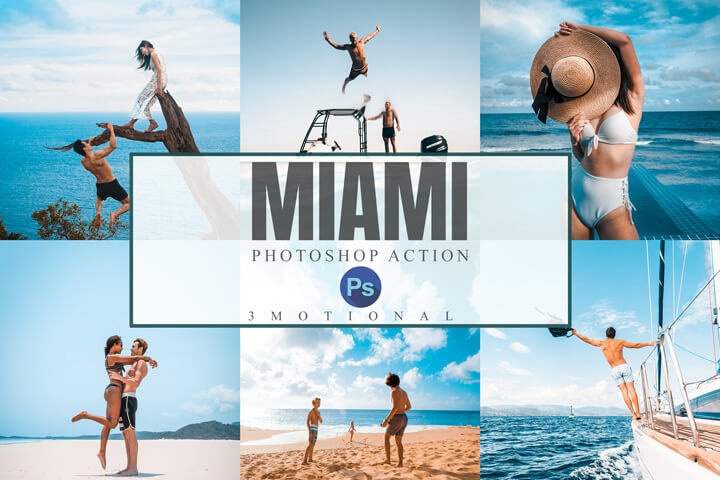 18 Miami Photoshop Actions, ACR, LUT Preset bright summer filter, Instagram Blogger Travel Lifestyle fashion influencer vibrant photography