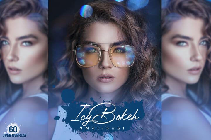 60 Icy Bokeh Overlays natural light leak effect, night lens flare, sparkles effect, jpeg file, night blue city overlay, digital download
