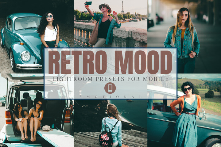 11 Retro Mood Mobile Lightroom Presets, analog film moody vintage, vsco filter, nostalgic polaroid Kodak cinematic style, Photographer Tools