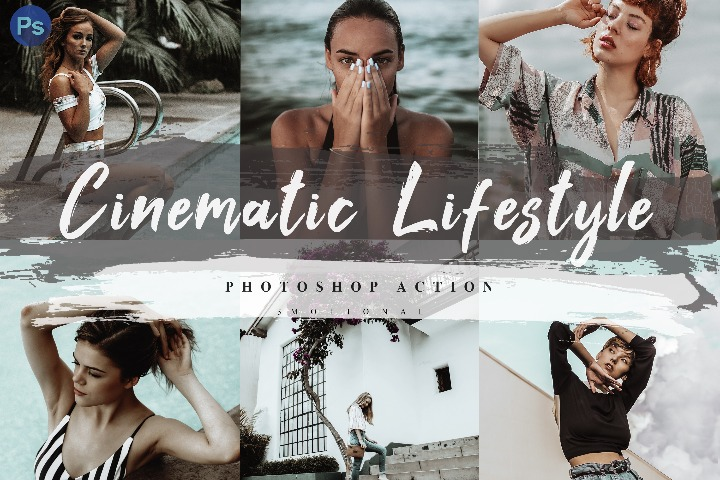 5 Cinematic Lifestyle Photoshop Actions, ACR and LUT Presets Instagram Blogger Photo Filter, Outdoor, Indoor, Cinematic, travel photograph influencer preset