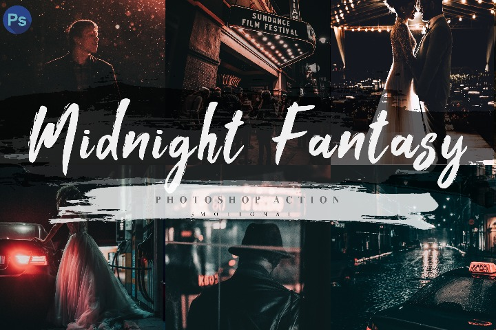 7 Midnight Fantasy Photoshop Actions, ACR and LUT Presets Instagram Blogger Photo Filter, Outdoor, Indoor, Forest, travel photograph influencer preset