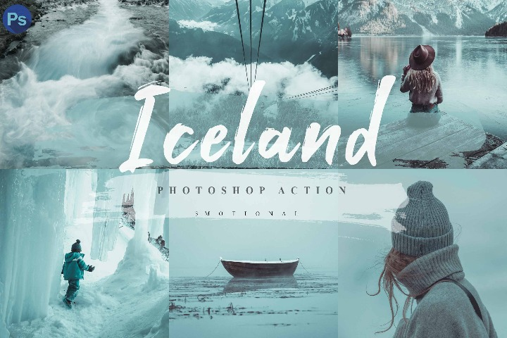 10 Iceland Photoshop Actions, ACR and LUT Presets, Instagram filter, Blue tone, Aqua, Outdoor, Snow, travel, Moody, Event, Portrait, Style Mobile Preset, Lightroom Desktop, Mobile lightroom, camera raw,