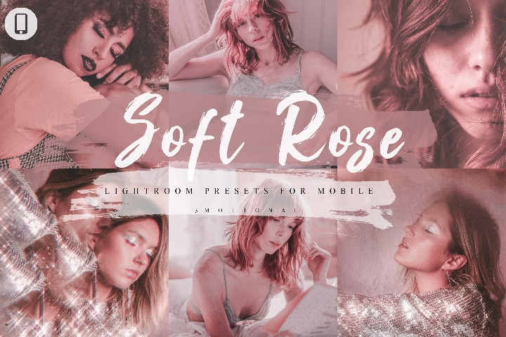 14 Soft Rose Mobile Lightroom Presets, Instagram Blogger, Photo Filter, Warm tone, Pink, Portrait, Vintage, Moody, Event, Fashion Style