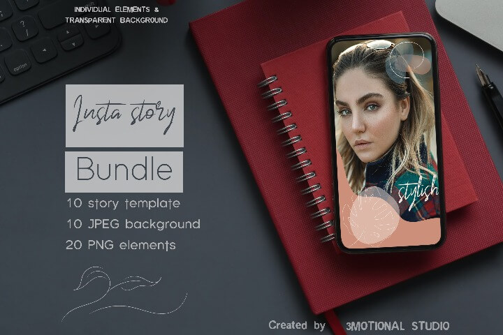 Viola Instagram Story Bundle PSD Mock-Up Ai Png elements jpeg background, Instagram Story Templates, Boho Style, hand-painted clipart, Abstract art