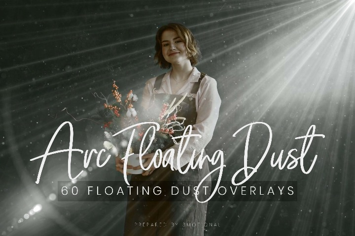 60 ARC Floating Dust Flare Effect Photo Overlays, Different Overlay Sparkles effects digital backdrop, Professional bokeh overlay, png