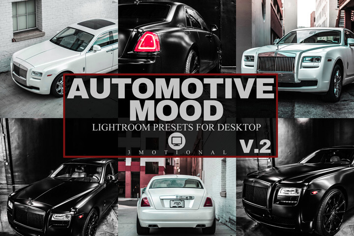 15 Automotive Mood Lightroom Presets V2, Professional car lovers luxury classic and sports auto filter, outdoor bright vibrant HDR effect