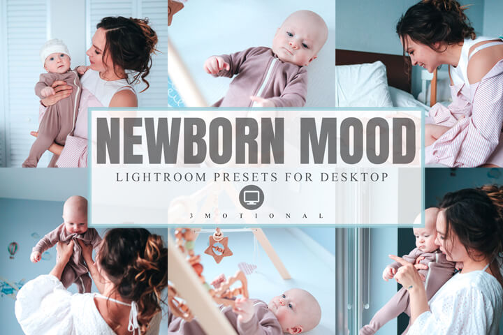 6 Newborn Mood Mobile Lightroom Presets, sweet baby Cute children portrait filter, professional bright and airy clean photographer effect