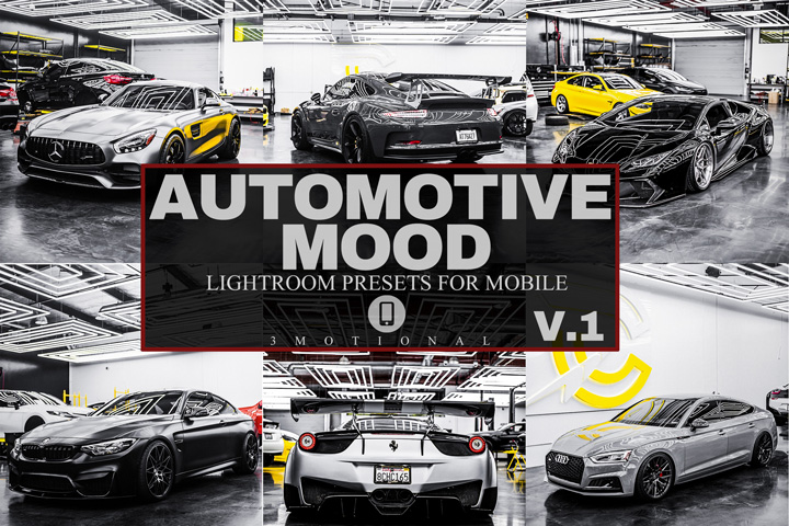 12 Automotive Mood Mobile Lightroom Presets V.1, luxury lifestyle dark moody black sports car lover Instagram photo filter, PRO Photography
