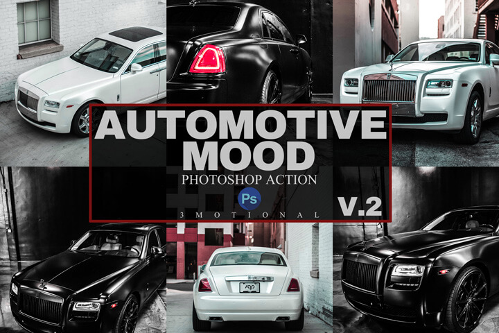 15 Automotive MoodPhotoshop Actions, ACR, LUT Presets V2, Professional car lover luxury classic and sports auto filter, bright vibrant HDR