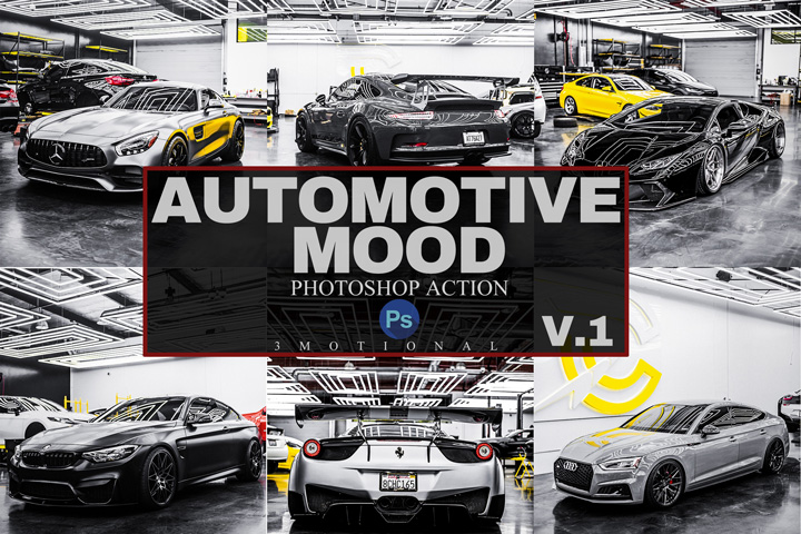 12 Automotive Mood Photoshop Actions, ACR, LUT Presets V.1, luxury lifestyle dark moody black sports Instagram photo filter, PRO Photography