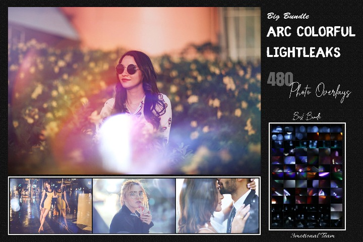 480 Arc Colorful Lightleak Bundle Overlays lights Effect Photo Overlay, Light leak Overlay Sparkles effects digital backdrop, Professional bokeh overlay,3motional
