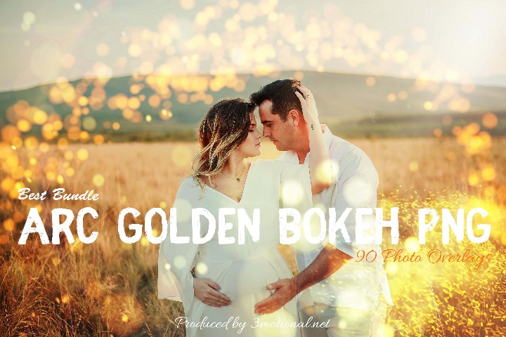 90 ARC Golden Bokeh PNG Effect Photo Overlays, Different Overlay Sparkles effects digital backdrop, Professional bokeh overlay, png