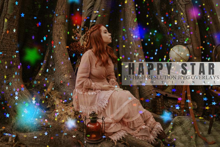 125 Happy Star Overlays, colorful magic soft light twinkle bokeh photo effect, shine dream sky pastel digital backdrop, photography tools