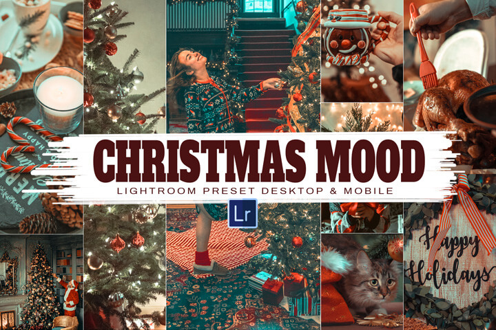 11 Christmas Mood Lightroom and Mobile Presets, Outdoor Christmas Blogger Instagram filter for bright and winter family, easy to use