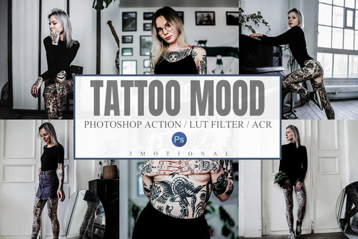 6 Tattoo Mood Photoshop Actions, ACR, LUT Presets, clean moody dark black detailed instagram body art artist lifestyle filter, easy to use