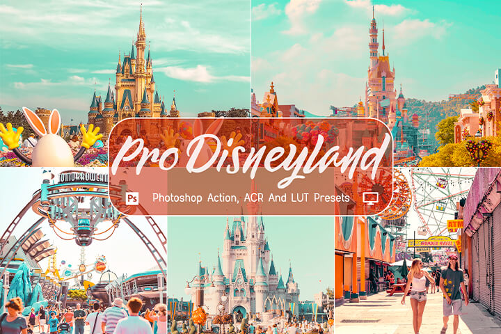 10 Pro Disneyland Photoshop Action, ACR, LUT Presets, Bright And Airy, Instagram Blogger, Dreamy girlish, Outdoor Pastel Photographer, Easy to use.