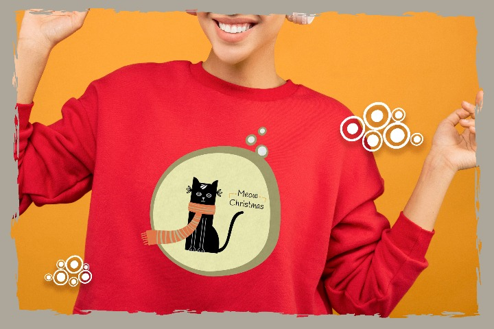 Black Cat SVG, Merry Xmas Ai, Easy to use Gnomes DXF, Cute Snow EPS, Tree Typography, Kids Funny Shirt File for Cricut & Silhouette, Png