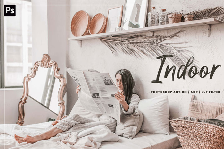 10 Indoor Photoshop Action, Lut Filter, ACR Presets, bright and clean theme for Instagram blogger, clean tone for indoors photography