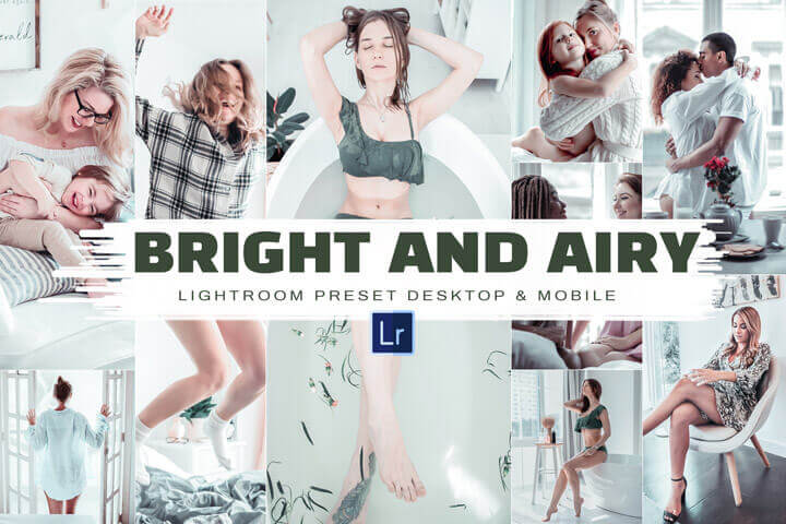 10 + (2 gifts) Bright & Airy, Mobile & Desktop Lightroom Presets, light Vibrant Theme, Soft Photo Filters for Clean White Colors indoors outdoors